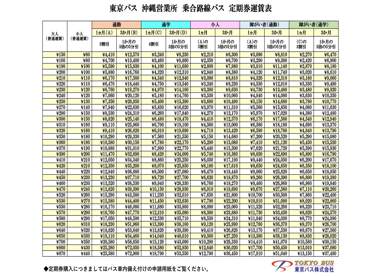東京バス沖縄営業所定期券
